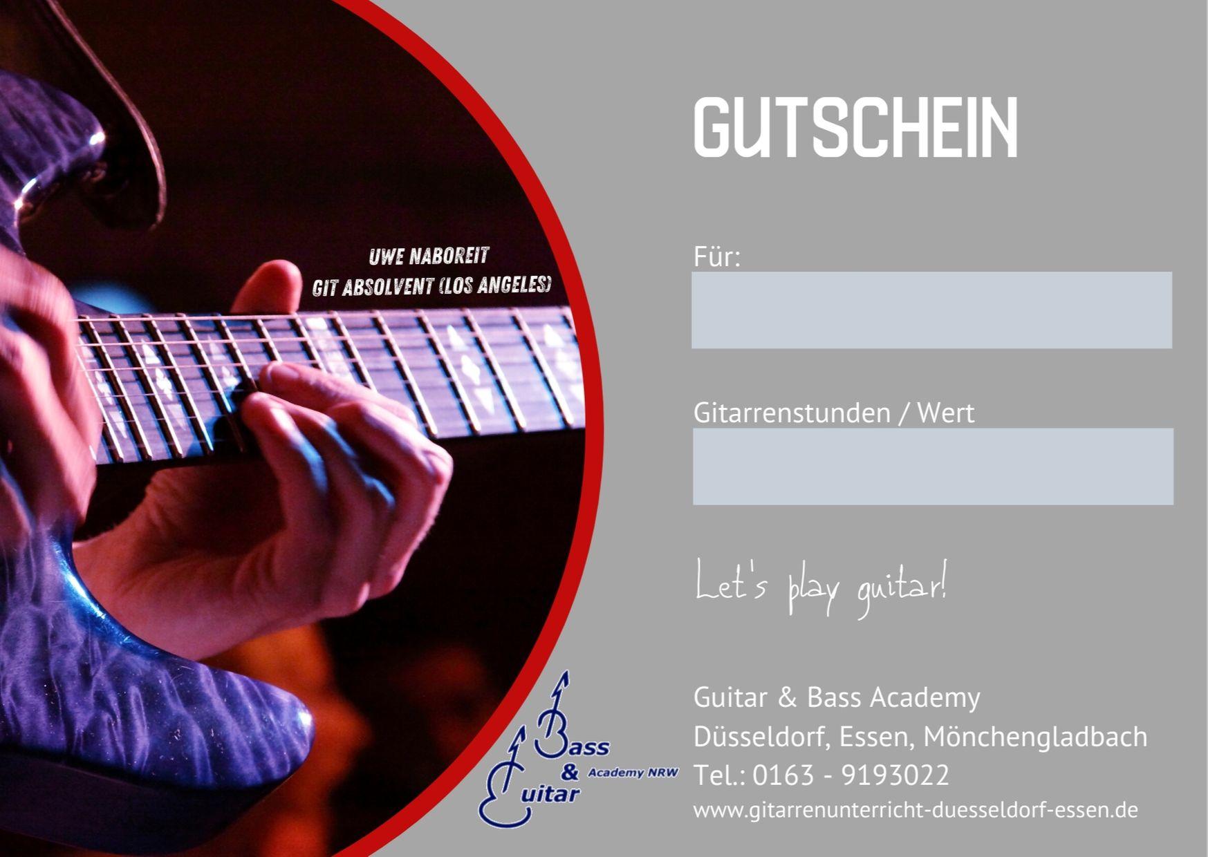 Gutschein Gitarrenunterricht Düsseldorf und Essen.